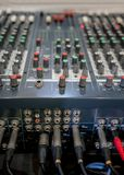 Close up of music mixer equalizer console for mixer control soun. D device. Sound technician audio mixer equalizer control for background Stock Photo