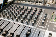 Close up of music mixer equalizer console for mixer control sound device. . Close up of music mixer equalizer console for mixer control sound device. Sound stock images