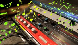 Close up of music mixing console. Music, technology, electronics and equipment concept - close up of mixing console at sound recording studio over notes Stock Image