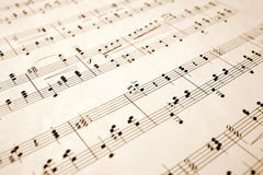 Close up of music notes. Close up of notes on an old sheet of music with shallow focus Stock Photo