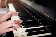 Close-up of a music performer& x27;s hand playing the piano. Close-up of a music performer& x27;s hand Stock Image