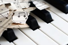 Close-up music score on piano keyboard, piece of paper. Object Royalty Free Stock Image