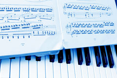 Close-up musical notes sheet. And piano stock images