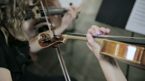 Close-up of musician playing violin.  stock video footage