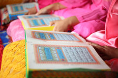 Close up muslim child and book Royalty Free Stock Photos