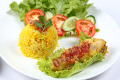 Close up Muslim yellow rice with chicken, Selective focus Stock Image