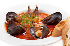 Close-up mussels with tomato sauce Royalty Free Stock Photos