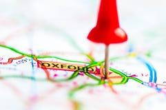 Close-up na cidade de Oxford no mapa, Reino Unido Foto de Stock Royalty Free