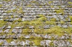 Close up na telha de madeira velha e resistida do telhado Fotos de Stock Royalty Free