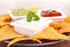 Nachos and dips Stock Photography