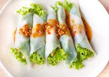 Close up Nam-Neaung in dish. Vietnamese Meatball Wraps Stock Images
