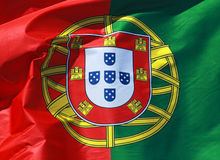 Close-up of a national flag of Portugal Royalty Free Stock Photos
