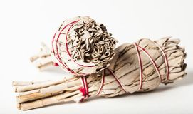Close Up Native American Sage Smudge Bundles for Smudging stock photography