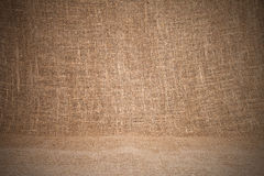 Close-up of natural burlap hessian sacking. Background texture u Royalty Free Stock Photos