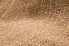 Close-up of natural burlap hessian sacking. Background texture u. Sing burlap material stock photo