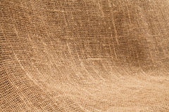Close-up of natural burlap hessian sacking. Background texture u Royalty Free Stock Photo