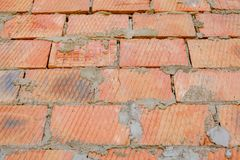 Close-up of natural old vintage weathered red brown not plastered solid brick wall. Abstract copy space background, Bricklaying, stock photos
