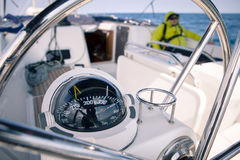 Close up of nautical compass on yacht Stock Image