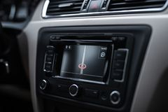 Close-up of navigation system in modern car.  royalty free stock images