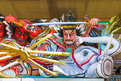 Close-up of the Nebuta float. The Nebuta float store in a large shed called a Nebuta-koya during daylight hours before parade in night time. For Aomori Nebuta royalty free stock photos