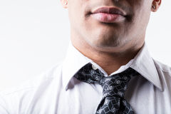Close up of a neck and a tie Royalty Free Stock Photo