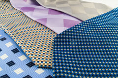 Close Up Neck Ties Showing Pattern. Close Up Neck Ties Showing Silk Pattern on Rich Cloth Stock Photos