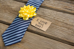 Close up of necktie with greetings Stock Photo