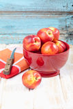 Close up of nectarines in red bowl with napkin Stock Image