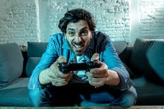 Close up of nerd video gamer addicted man. stock images