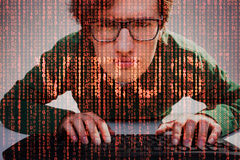 Close up of nerdy guy and red computer virus Stock Photography