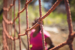 Close-up of net in boot camp. During obstacle course royalty free stock photo