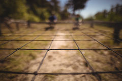 Close-up of net in boot camp. On a sunny day stock photo