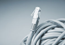 Close up of a network cable socket. Horizontal side view of a grey network cable socket Royalty Free Stock Photo