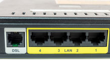 Close up network switch mount port for connect network Royalty Free Stock Image