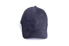 Close up new black baseball hat isolated on white royalty free stock image