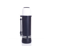 Close up new black thermos flask isolated on white Stock Photography