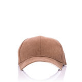 Close up new brown baseball hat. Studio shot isolated on white Royalty Free Stock Photography