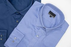 Close up of new business shirt for men. On white background Stock Photos