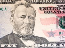 Close up of new 50 dollar bill. Fifty dollar with president Grant portrait for money background royalty free stock images