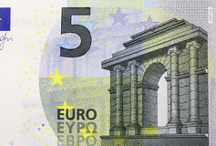 A close-up of a new 5 Euro bank note Stock Photos