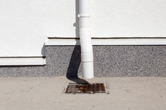 Close-up new home rain gutter system construction. royalty free stock image
