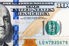 Close up of new hundred dollar bill. High quality texture on macro Stock Images