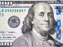 Close up of new hundred dollar bill. stock images