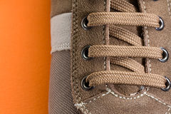 Casual Brown Shoe Close Up Stock Images