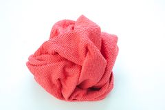 Close up new red wipes or rags isolated on white background. Selective focus Stock Photography