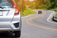 Close up of new silver hatchback car parking Stock Photo