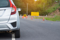 Close up of new silver hatchback car parking Royalty Free Stock Images