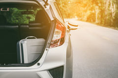 Close up of new silver hatchback car parking Royalty Free Stock Image