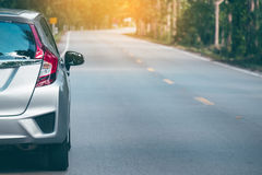 Close up of new silver hatchback car parking Stock Image