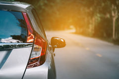 Close up of new silver hatchback car parking Stock Images
